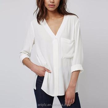 5e8f3299dec white casual blouse v neck 100 viscose loose blouse design for fat women  wearing