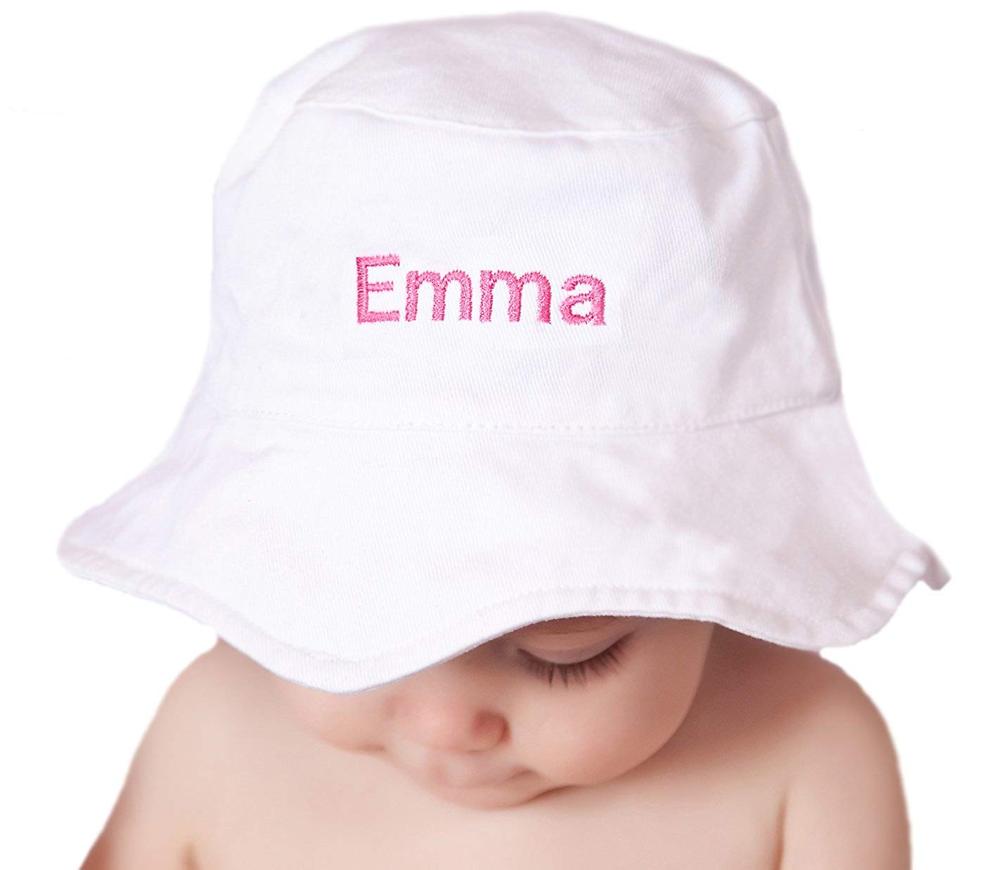 340ca8eb413 Get Quotations · Melondipity s Personalized White Sun Hat for Baby and  Toddler Girls - Pink Name Embroidery