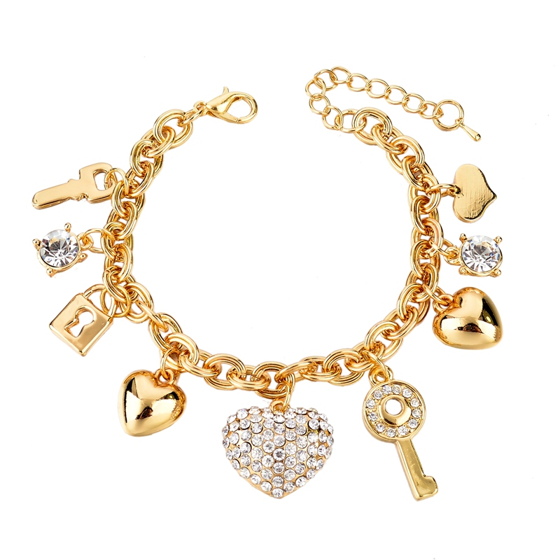 Fashion Heart Beetle Charm Bracelets Bangles For Women Real Gold Plated Bracelet Austrian Crystal Chain Pulseras SBR140221