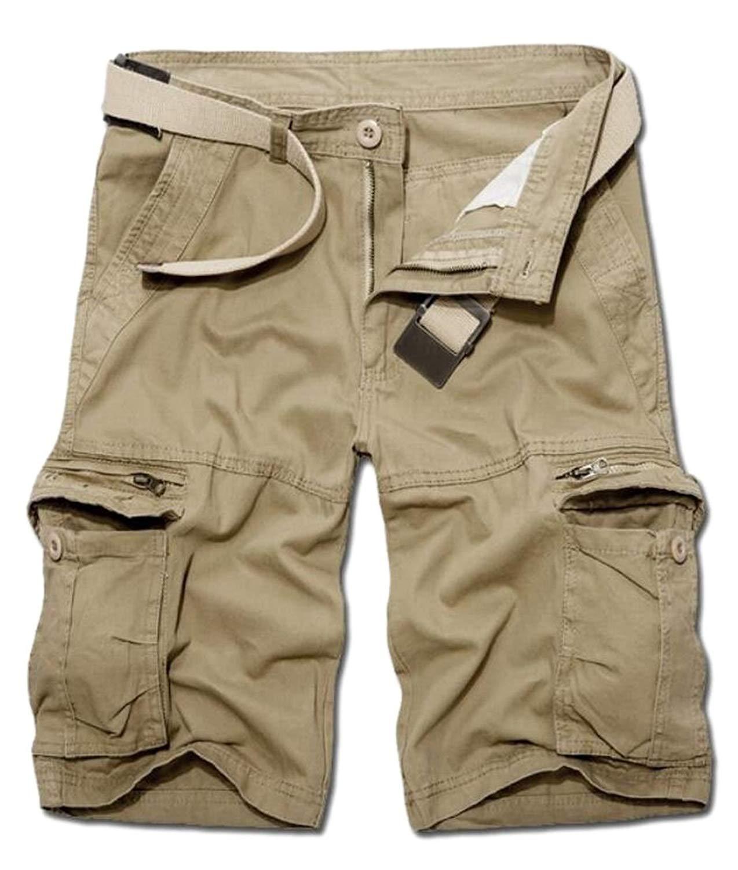 23dd776c86 WSPLYSPJY Mens Casual Cargo Shorts Athletic Twill Cargo Shorts Khaki S