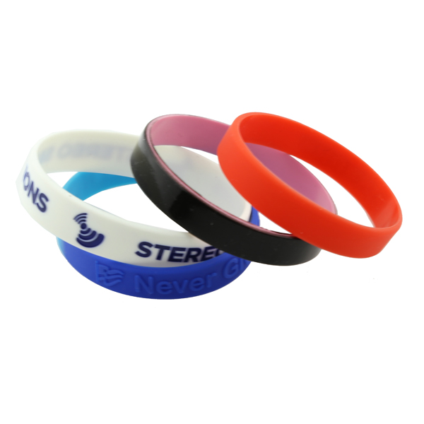 Debossed rubber silicone wristbands