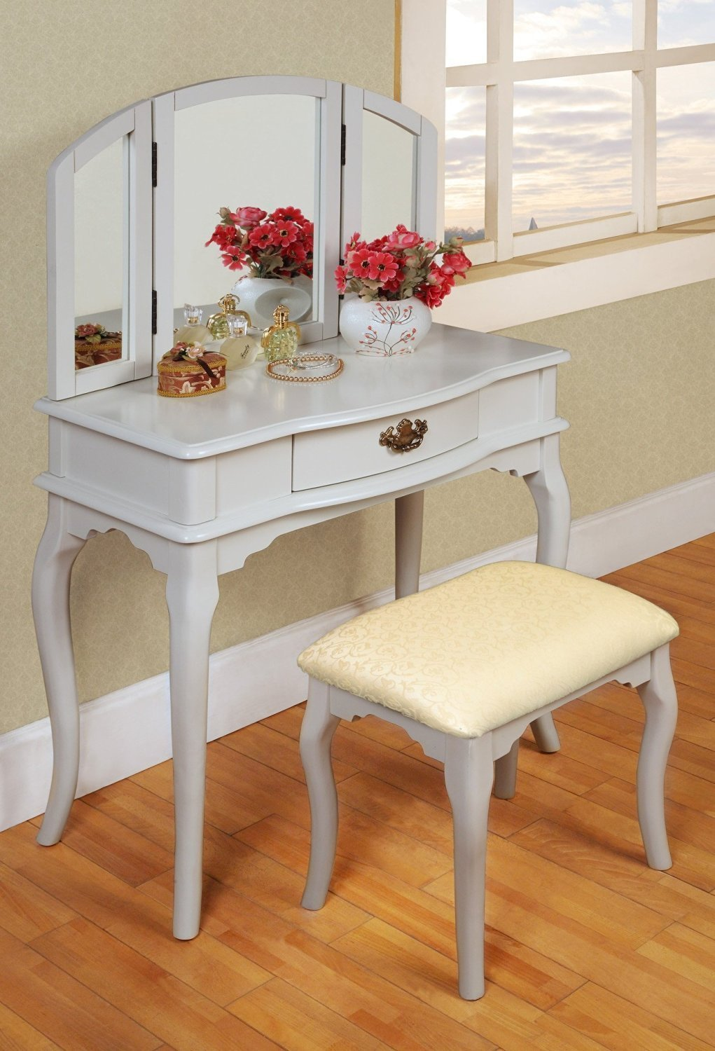 White Finished Wood Bedroom Makeup Vanity Set with Vanity Table - Center Drawer - Tri-fold Vanity Mirror and Upholstered Cushion Wood Bench in French Country Design Best in Vanity Tables