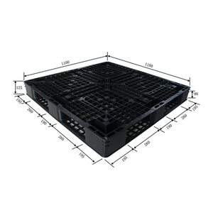 1100*1100*125 mm 4 Way Entry HDPE Heavy Duty Single face anti-slip rubber inserted Warehouse Racking Storage plastic pallet