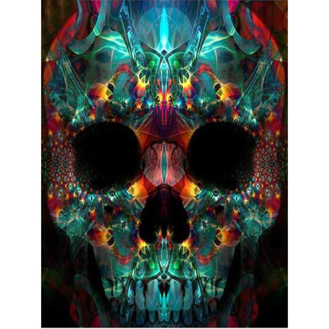 Halloween Skull Diamond Painting, Franterd 5D DIY Rhinestone Painting by Number Kits Full Drill Cross Stitch Art Home Decor