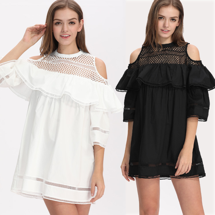 Chic Short Sleeve Off Shoulder Ladies Casual Dress Guangdong Clothing New Design 2018 O Neck Pleated Mesh Women Sexy Mini Dress