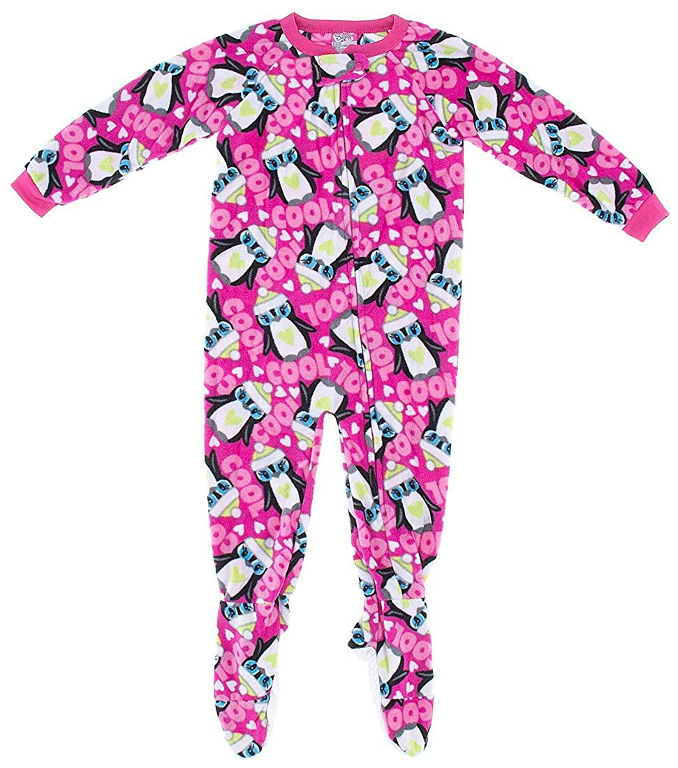 Sweet & Sassy Little Girls' Pink Penguin Footed Pajamas