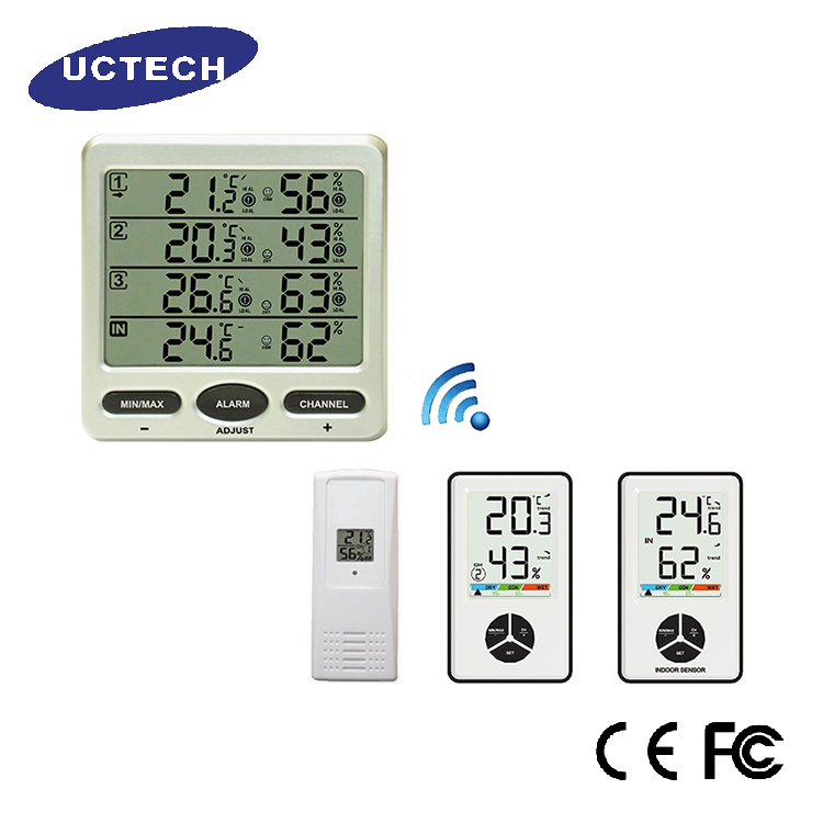 Good quality white 8 remote sensors LOW alarm Wireless Indoor thermo hygrometer digital humidity controller