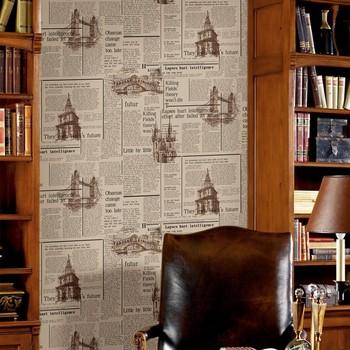 Cheap newspaper home decoration modern wallpaper
