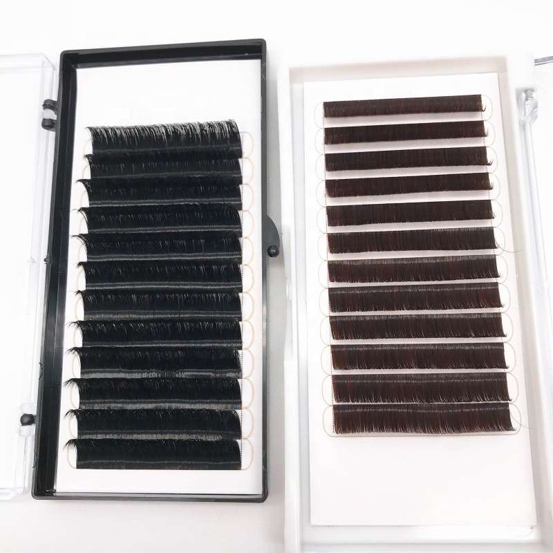 Save Time Volume Fan Automatic Blooming Eyelash Extensions 0.03mm-0.1mm Thickness Individual Eyelash Extension, Natural black;brown;blue;red;purple;green