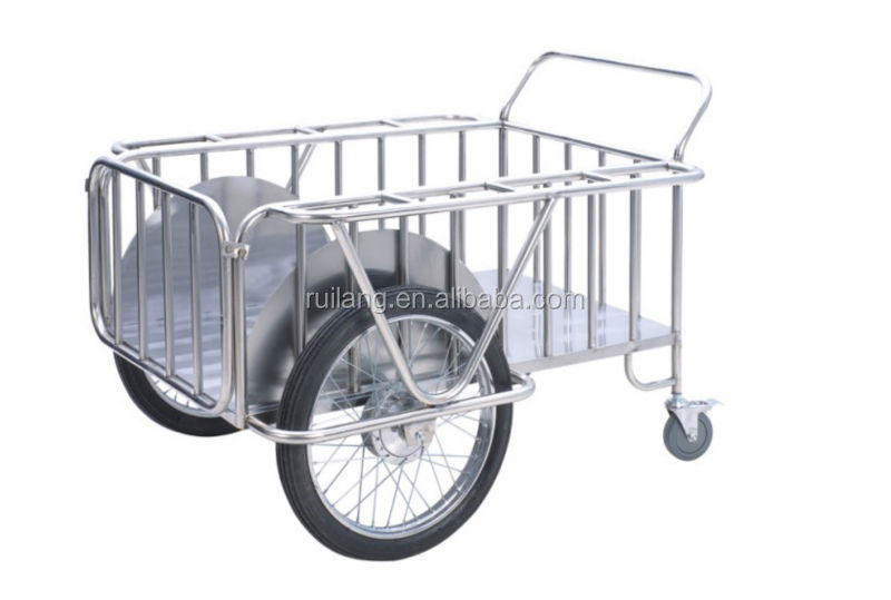 c79e851c73aa Easy Move Stainless Steel Dressing Delivery Cart With 2 Big Wheels ...