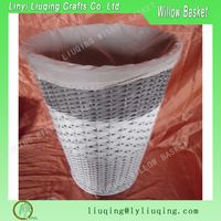 wholesale round decorative wicker waste paper basket office storage basket with fabric liner