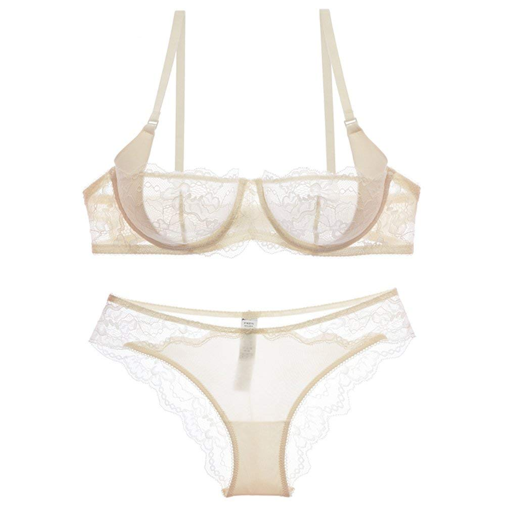 9174130497ced3 Get Quotations · Women See-Though Non Padding Underwire Lace Sheer Bra and  Panties Sets