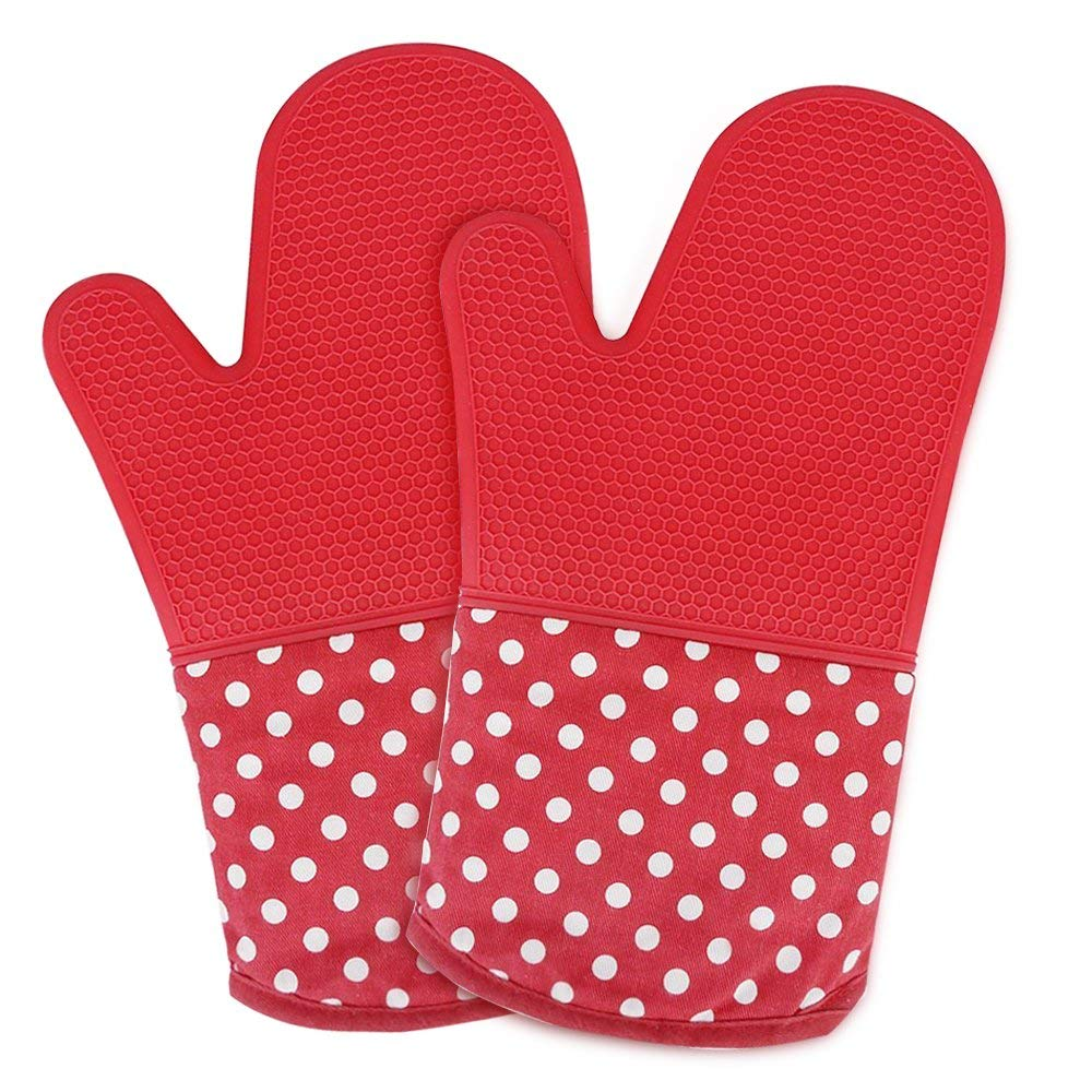 oven mitt, silicone oven mitts, pizza oven mitt, oven mitts pair, oven mitts for women, oven mitts heat resistant, Non-slip Silicone Potholder for Cooking, Baking, Grilling, Holding Pot, Red