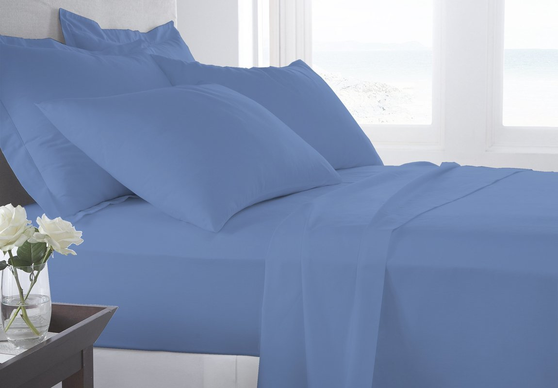 """BED SHEET Set 4 Piece 800 Thread Count (1 Flat Sheet 1 Fitted Sheet And 2 Pillowcases) ( 18"""" Pocket) 100% Pima Cotton Luxurious Bedsheets By Serene Linens (Mediterranean Blue, California King)"""