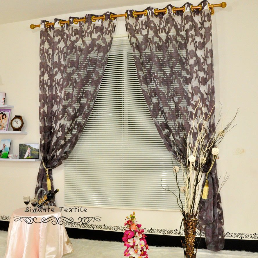 Free shipping home decoration luxury jacquard tulle fabric for window curtain living room