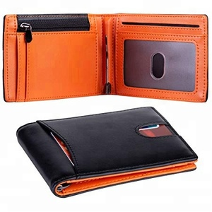 High end vintage genuine leather Black and Orange RFID Blocking Slim young man boys Wallet with Money Clip Credit Card Holder