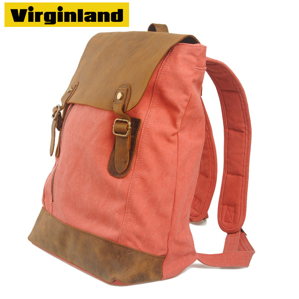 Hangzhou Fashion Designer Vintage Canvas and Genuine Leather Women Backpack for Office Ladies