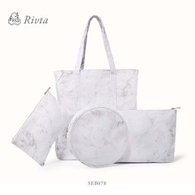 low price best selling summer ladies canvas waterproof marble beach tote bag handbag