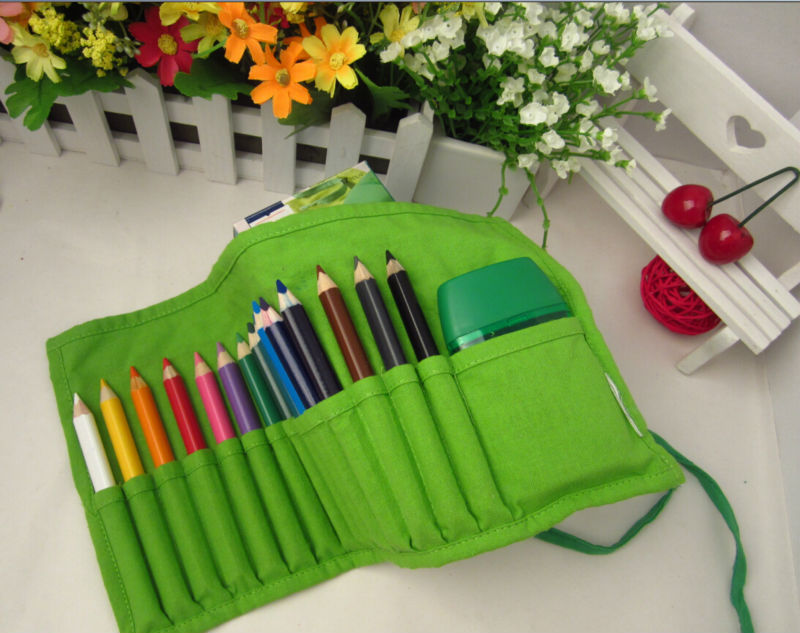 jumbo triangle color pencils in green cloth bag, senior grade color pencil/ jumbo colored pencils