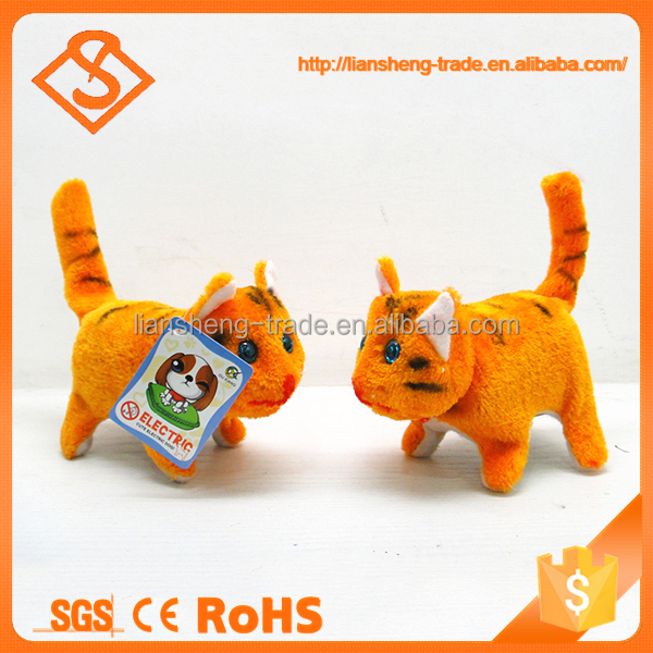 Lovely children small plush animal walking battery operated toy cat with sound