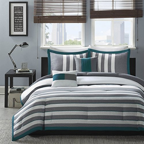 4 Piece Boys White Dark Teal Green Stripes Comforter Twin/Twin XL Set, Horizontal Grey Striped Bedding Rugby Stripe Gray Pattern Nautical Themed Modern Stylish Lightweight, Polyester