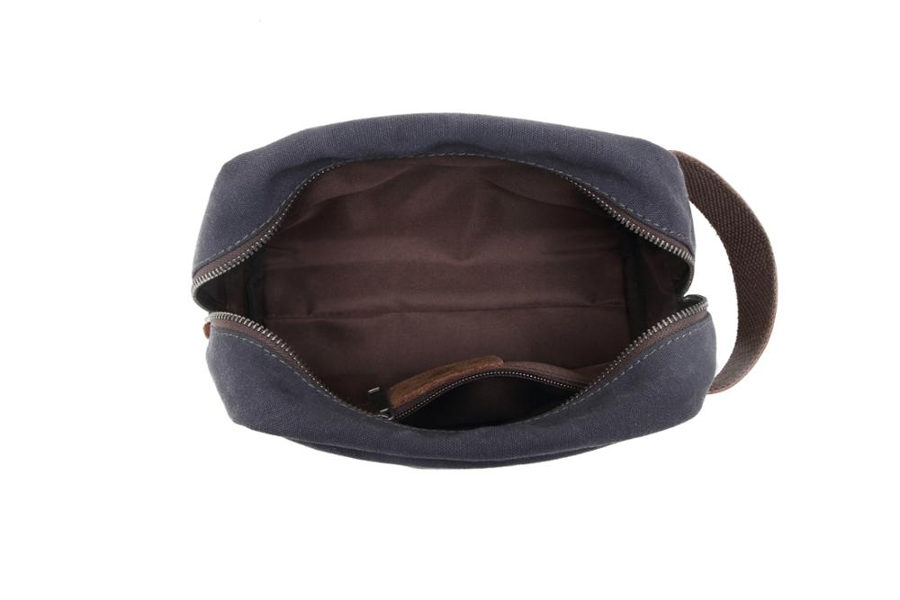 Custom men and women genuine leather makeup travel toiletry bag cotton canvas promotional fashion cosmetic bags