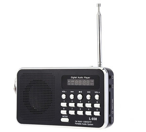 Multi color design portable fm radio with usb and tf card speaker