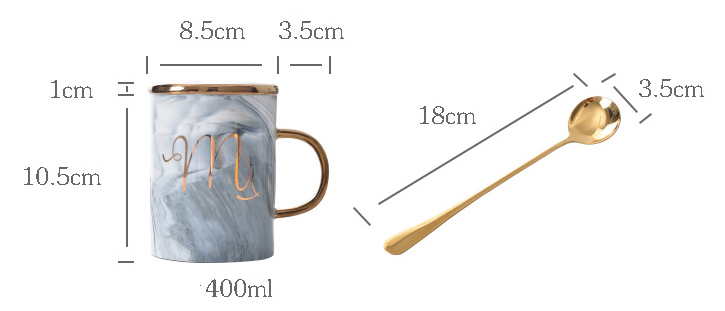 Hand-painted Gold Handle Mug Ceramic Gold Lid Coffee Cup Custom LOGO Marble Coffee Mugs