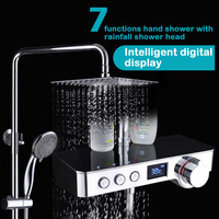Bathroom exposed rain shower set with intelligent digital display