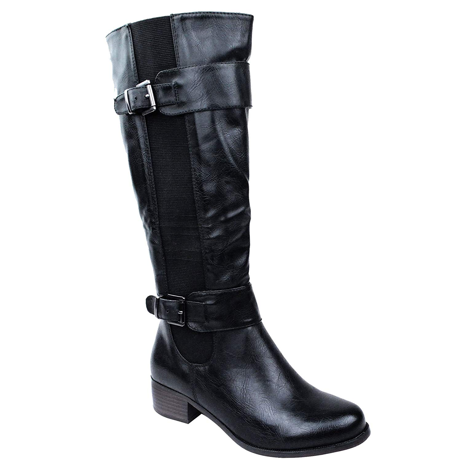 b3f1d56f818e Get Quotations · Fashion Thirsty Womens Elasticated Faux Leather Riding  Knee Wide Calf High Shoe Boot Size