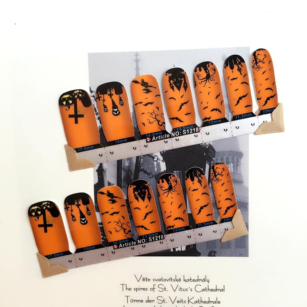 Happy Halloween Nail Arts Stickers 14 pcs set Full Tape Patch Waterproof Foils Decals Polish Gel