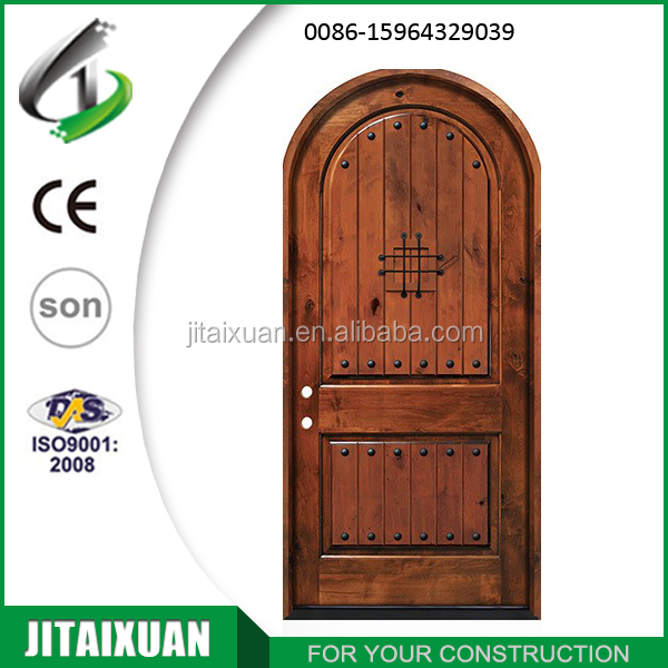 Internal full solid wood knotty alder 2 panel with top arched door