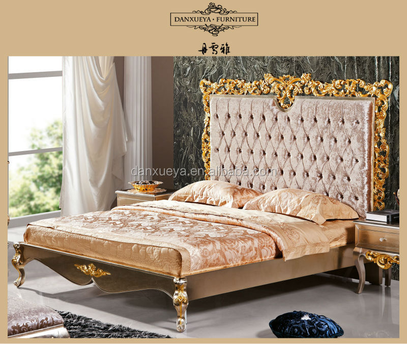 Italy Luxury Classical Royal Furniture Antique Gold King Size Bed