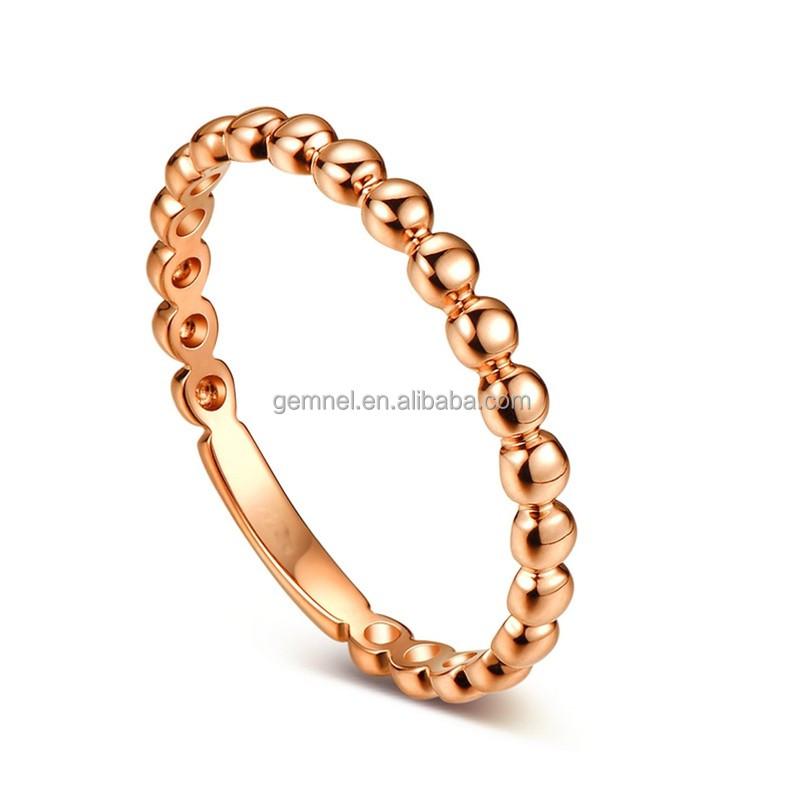 China wholesale 18kt rose gold unisex gender bead rings jewelry women