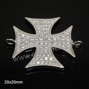High quality Cubic Zirconia cross shape connector jewelry bracelet link connector