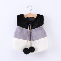 New fashion sleeveless outerwear kids winter fake fox fur vest wholesale