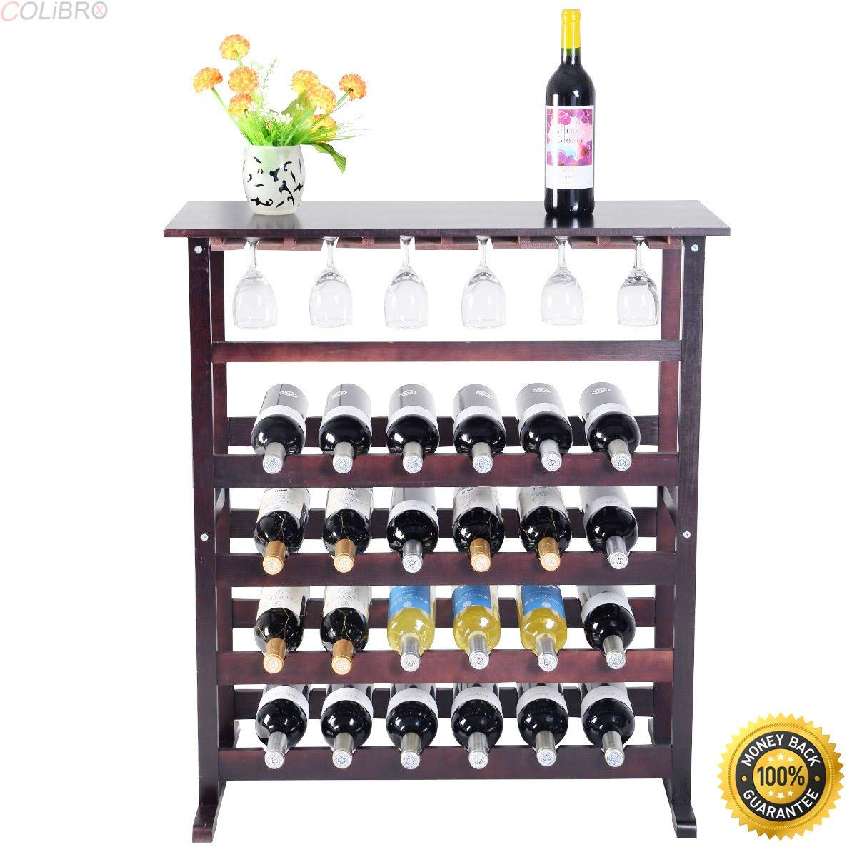 Get Quotations Colibrox New 24 Bottle Wood Wine Rack Holder Storage Shelf Display W Gl