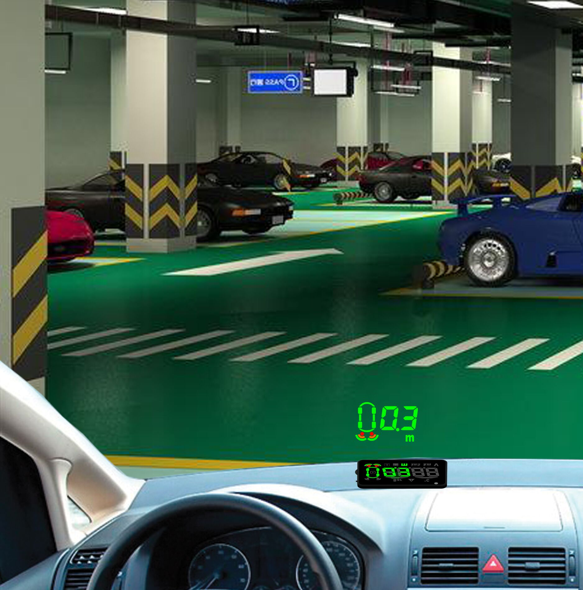 OBD-II Head-up Display with 4 rear+ 4 front wireless parking sensor