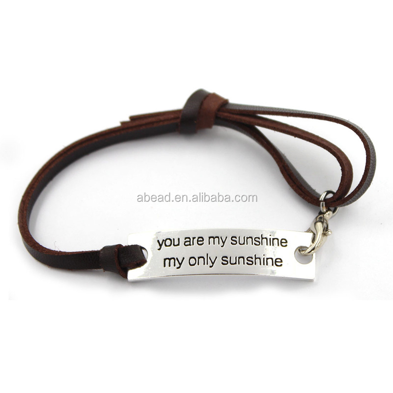 """you are my sunshine my only sunshine"" Hot Men Jewelry Leather Cord Bangles"