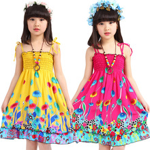 2016 New Summer Girls Dresses Bohemian Style Sundress For Girls Fashion Flower Girls Beach Dresses Strip