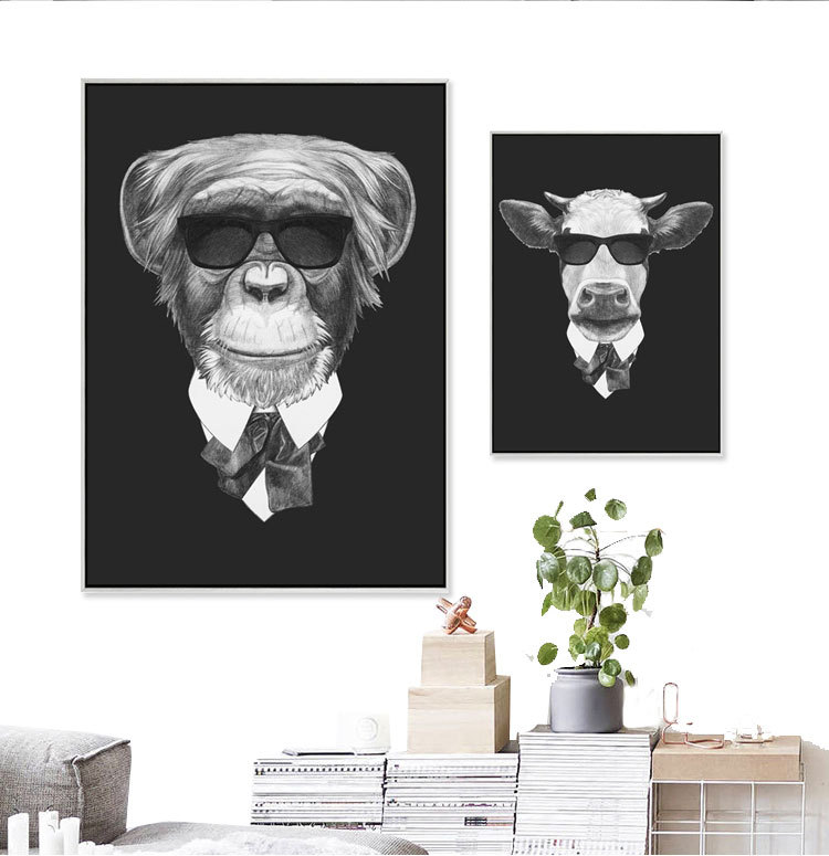 Animal modern minimalist living room restaurant cafe decoration personalized painting black and white canvas art