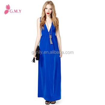 ecbb5cc5ba9 western design deep v neck formal royal blue mature women maxi dresses