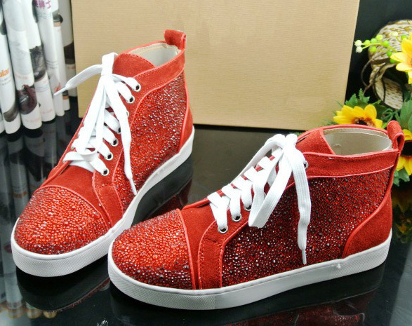 Hot sale designer women and men red rhinestone lace up casual ... what  designer is red bottom shoes 0316d4b926
