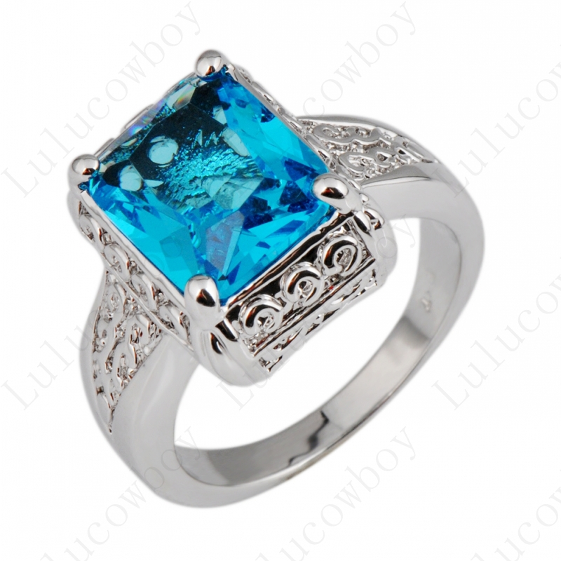 Aquamarine Geometric Women Fashion Ring Natural Stone White Gold Filled Fine Jewelry Wedding Rings For Female Ladies RW1052