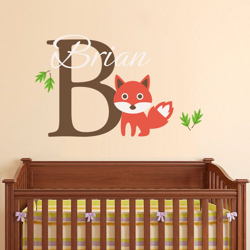 """BATTOO Fox wall decal- Personalized Name Wall Decal- Custom Fox Wall Art- Custom Name Wall Decal- Nursery Wall decal- Nursery Wall Art Fox Nursery Wall Decal(white+soft pink, 16""""tall)"""