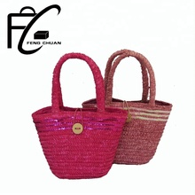 New Arrival Colorful Straw Beach Handbag kids bags for girls