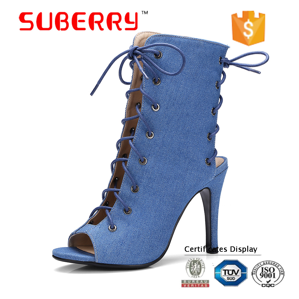 ladies boots big size roman shoe lace-up peep toe ankle boot denim suede thin heel Sexy woman shoes high gladiator sandals women