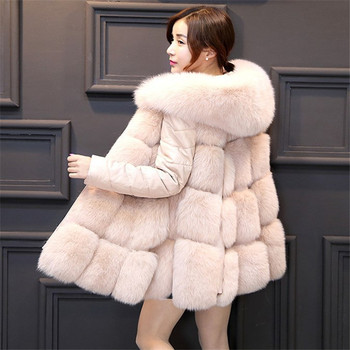 Fashion Winter Fur Collar Hooded Jacket Coat with Detachable Pu Leather Sleeves Women Warm Faux Fur Coats