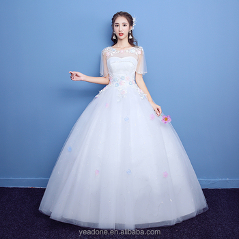 Cheap Sheer Tulle O-neck Wedding Dresses Half Sleeve Bride Gowns ...