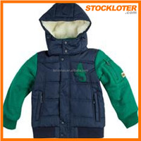 Stock kids winter jackets - hoody readymade kids padded coats cheap wholesale clothing